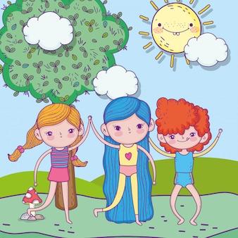 Szczęśliwy dzień dziecka, dziewczynki i chłopiec razem w krajobrazie parku
