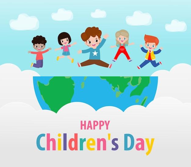 Szczęśliwy dzień dziecka karta z szczęśliwymi dziećmi skaczącymi na świecie w pochmurne niebo z tęczą