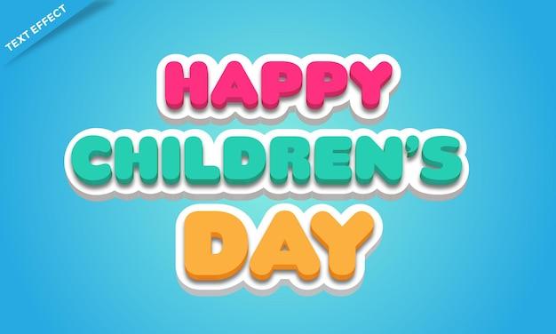 Szczęśliwy dzień dziecka kolorowy efekt tekstowy