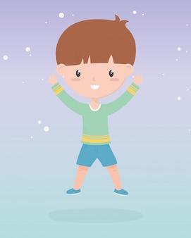 Szczęśliwy dzień dziecka, ładny mały chłopiec ręce do góry świętuje ilustracji wektorowych