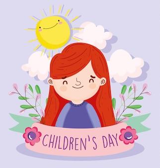 Szczęśliwy dzień dziecka, mała dziewczynka liści słońce chmura wstążka kreskówka wektor ilustracja