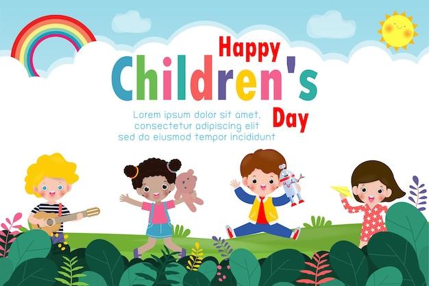 Szczęśliwy dzień dziecka plakat w tle ze szczęśliwymi dziećmi z zabawkami na białym tle ilustracji