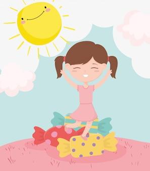 Szczęśliwy dzień dziecka, słodka dziewczynka z kreskówki słodkie cukierki