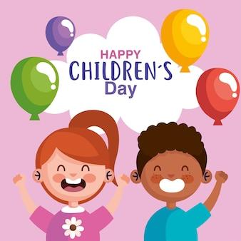 Szczęśliwy dzień dziecka z projektowaniem kreskówek chłopca i dziewczynki, motyw międzynarodowych uroczystości