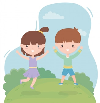 Szczęśliwy dzień dziecka, zabawny mały chłopiec i dziewczynka w polu ilustracji wektorowych