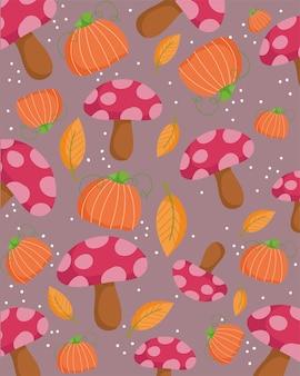 Szczęśliwy dzień dziękczynienia, jesienne grzyby liście dyni dekoracji tło
