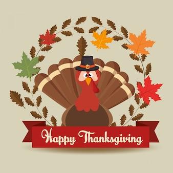 Szczęśliwy dzień dziękczynienia karta turket kapelusz pozostawia transparent