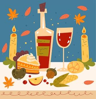 Szczęśliwy dzień dziękczynienia obiad kreskówka ręcznie rysowane ilustracja