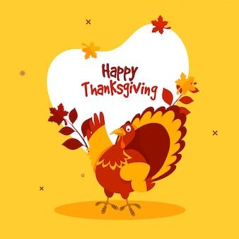 Szczęśliwy dzień dziękczynienia pojęcie z indyczym ptakiem.