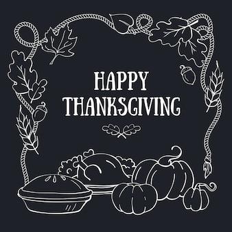 Szczęśliwy Dzień Dziękczynienia Ręcznie Rysowane Szablon Karty Z Pozdrowieniami Premium Wektorów