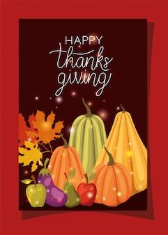 Szczęśliwy dzień dziękczynienia, sezon wakacyjny pozdrowienie i tradycyjną ilustrację