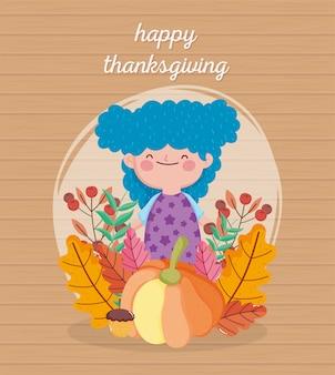 Szczęśliwy dzień dziękczynienia słodkie dziewczyny niebieskie włosy z dyni ciasto