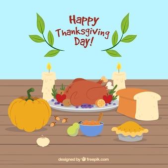 Szczęśliwy dzień dziękczynienia tle z obiadem
