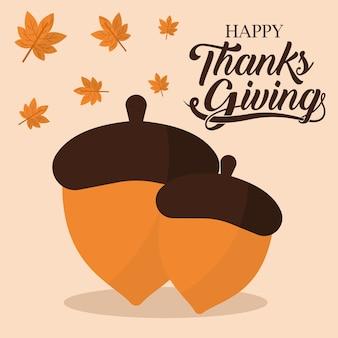 Szczęśliwy dzień dziękczynienia z projekt żołędzi i liści, sezon jesienny