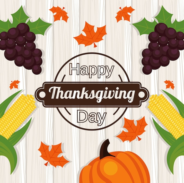 Szczęśliwy dzień dziękczynienia z winogronami i warzywami w drewnianym tle.