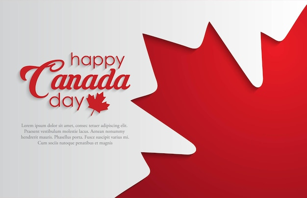 Szczęśliwy dzień kanady tło z czerwonym liściem klonu