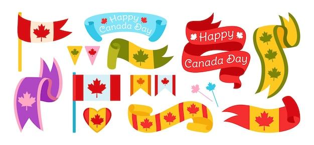 Szczęśliwy dzień kanady, wstążka jasny kolor płaski zestaw flagi i taśmy, wielokolorowa etykieta patriotyzmu