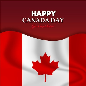 Szczęśliwy dzień kanady z realistyczną flagą