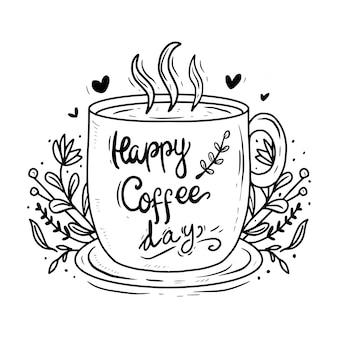 Szczęśliwy dzień kawy list typografii rysunek cytat