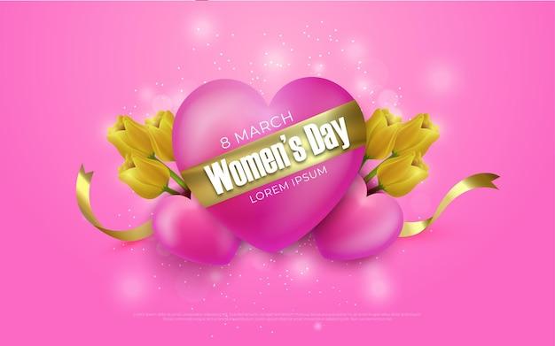 Szczęśliwy dzień kobiet 8 marca ilustracje w stylu