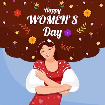 Szczęśliwy dzień kobiet czcionki z smiley młoda dziewczyna tulenie siebie i kwiatowy ozdobiony na brązowym i niebieskim tle.