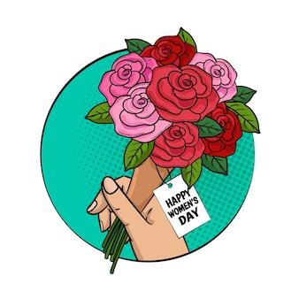 Szczęśliwy dzień kobiet karta z bukietem róż w retro pop-artu