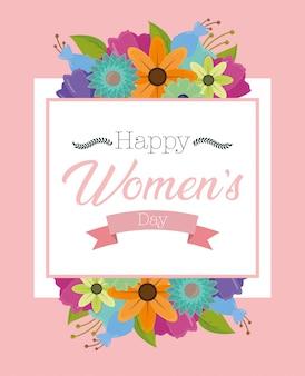Szczęśliwy dzień kobiet kartkę z życzeniami z kwiatami