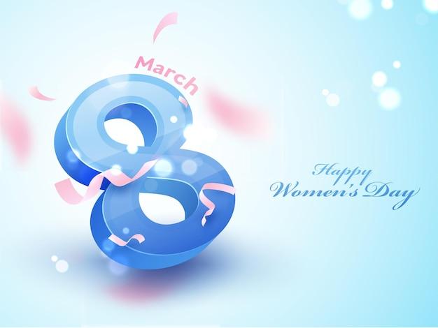 Szczęśliwy dzień kobiet koncepcja z liczbą 3d 8 marca na niebieskim tle rozmycia bokeh.