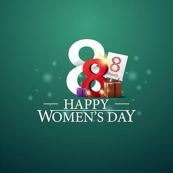 Szczęśliwy dzień kobiet logo z numerem osiem i prezenty