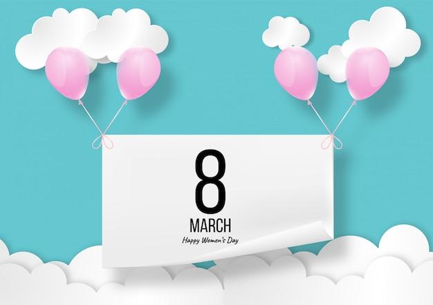 Szczęśliwy dzień kobiet lub międzynarodowy dzień kobiet wektor