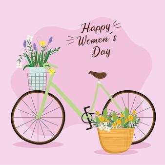 Szczęśliwy dzień kobiet napis karty z kwiatami na ilustracji roweru