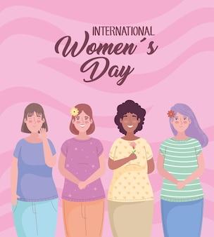 Szczęśliwy dzień kobiet napis z grupą ilustracji międzyrasowych dziewcząt