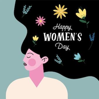 Szczęśliwy dzień kobiet napis z ilustracją postaci pani