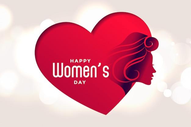 Szczęśliwy dzień kobiet plakat beart i twarz