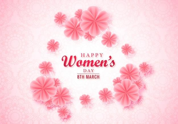 Szczęśliwy dzień kobiet różowy kwiatowy kartkę z życzeniami