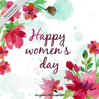 Szczęśliwy dzień kobiet tło akwarela