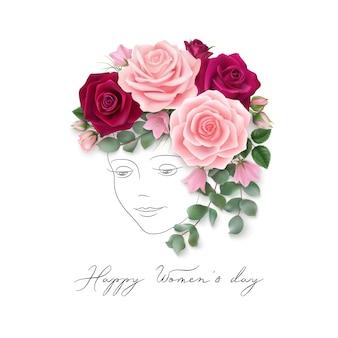 Szczęśliwy dzień kobiet tło z różami dzwon kwiaty liście eukaliptusa i narysowane linie twarz kobiety