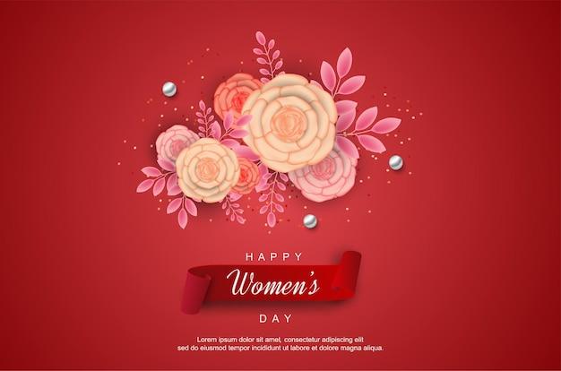 Szczęśliwy dzień kobiet z kwiatem