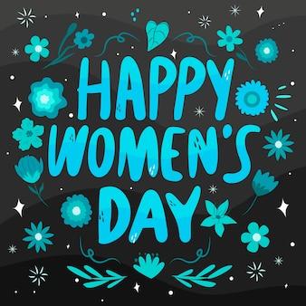Szczęśliwy dzień kobiet z niebieskim motywem kwiatowym