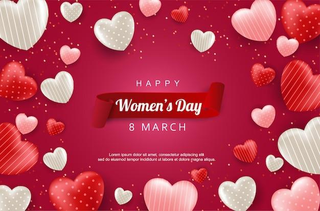 Szczęśliwy dzień kobiet z realistycznym balonem miłości