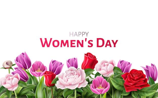 Szczęśliwy dzień kobiet zaproszenie, plakat z pozdrowieniami z elegancką różą