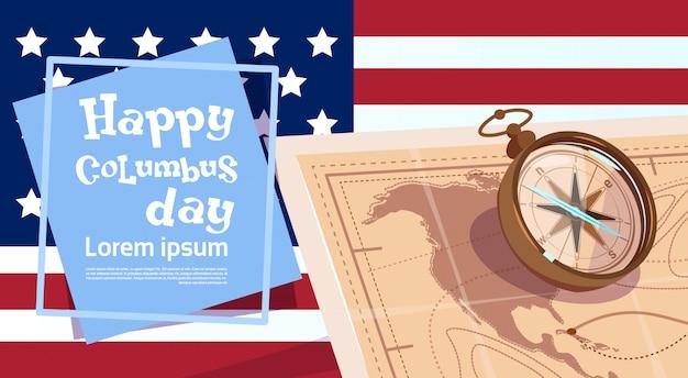 Szczęśliwy dzień kolumba ameryka odkryj kartkę z życzeniami plakat wakacyjny