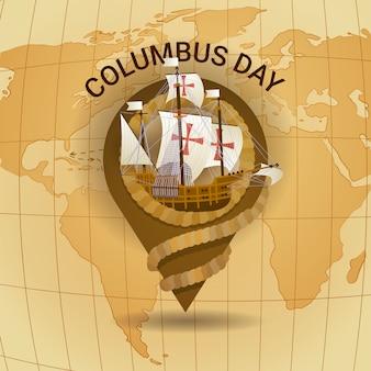 Szczęśliwy dzień kolumba ameryka odkryj wakacyjny plakat kartka z pozdrowieniami retro mapa świata