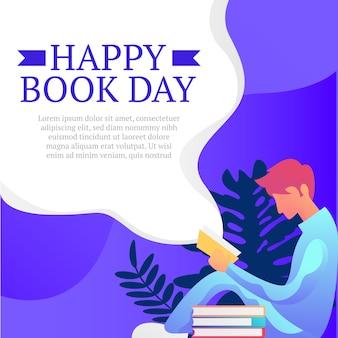Szczęśliwy dzień książki tło z człowiekiem siedzieć przeczytaj ilustracja