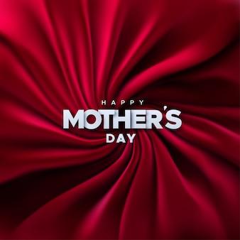 Szczęśliwy dzień matki biały znak na tle czerwonego aksamitu tkaniny