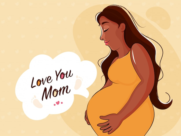 Szczęśliwy dzień matki conept z ilustracją mamy być, ciężarnej damy i tekstem kocham cię mamo na beżowym kolorze tła.