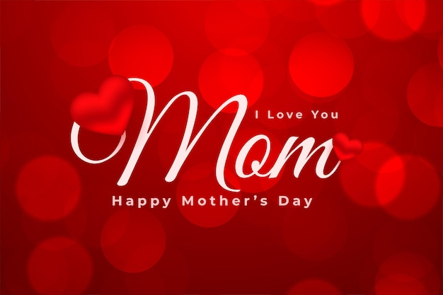 Szczęśliwy dzień matki czerwona karta bokeh z wzorem serca
