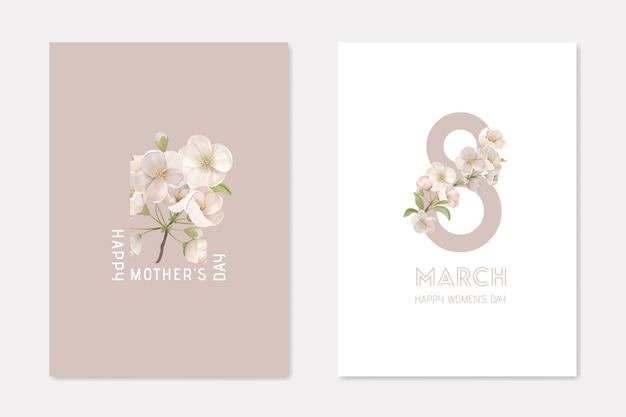 Szczęśliwy dzień matki i 8 marca zestaw szablonów stylowych kart. dekoracyjna kompozycja z kwiatami wiśni na białym i beżowym tle holiday plakat transparent ulotka broszura kreskówka płaskie wektor ilustracja