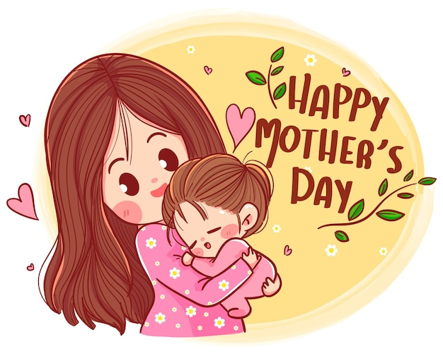 Szczęśliwy dzień matki i córki, piękna matka i córka ręcznie rysowane ilustracja kreskówka