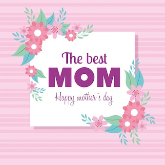 Szczęśliwy dzień matki-karta z kwadratową ramką i kwiaty ozdoby
